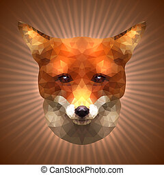 Polygonal Fox - Shining Fox in Triangular Style on a Radiant...