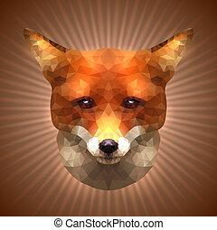 Polygonal Fox - Shining Fox in Triangular Style on a Radiant...