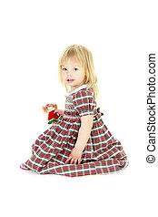 cute blonde toddler girl over white