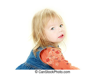cute toddler girl looking in camera over white