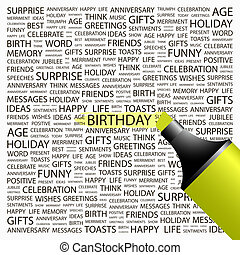 BIRTHDAY Concept illustration Graphic tag collection...