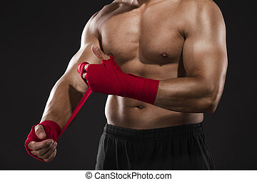 Man practicing body combat - Portrait of a body combat...