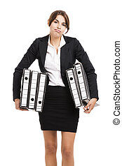 Business woman holding folders - Beautiful business woman...