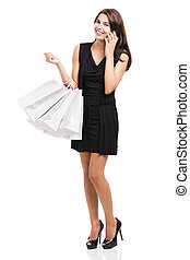 Woman Shopping - Beautiful and attractive young woman with...