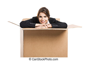 Business woman appear inside a big card box - Happy business...