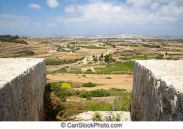 View over Malta	 - View of the island of Malta in Europe.