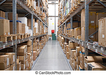 Distribution warehouse - Warehouse rows with cardboard boxes...