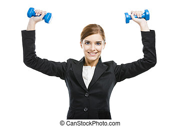 Business woman lifting weights - Beautiful and young...