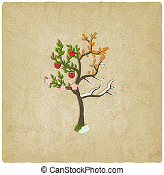 four seasons trees old background - vector illustration. eps...