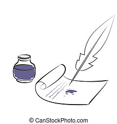 inkwell pen paper - vector illustration. eps 8
