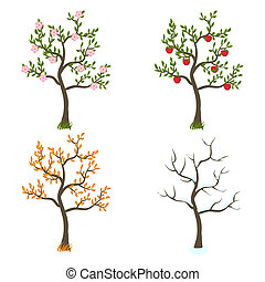 four seasons trees art - vector illustration. eps 8