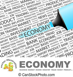 ECONOMY. Concept illustration. Graphic tag collection....