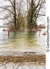 Flooded barrier - Barrier surrounded with water blocking a...