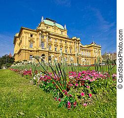 Croatian national theatre square in Zagreb