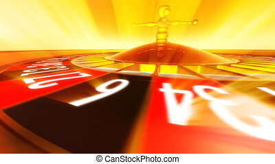 Roulette with rays - 3D animation of casino roulette with...