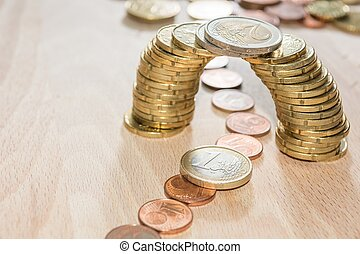 Coin bridge - Bridge build out of euro coins with cents...