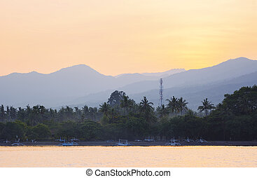Lovina Beach Landscape View from Sea at Dawn, Bali,...