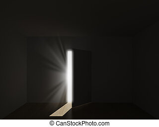 bright light through an open door i