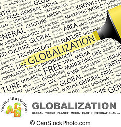 GLOBALIZATION. Word cloud illustration. Tag cloud concept...