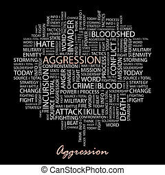 AGGRESSION Word cloud illustration Tag cloud concept collage...