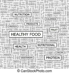 HEALTHY FOOD. Seamless pattern. Word cloud illustration.