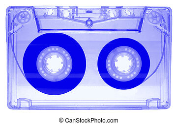 Audio cassette - blue - isolated on white background