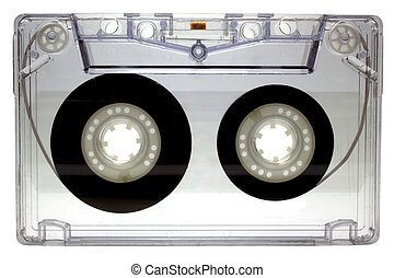 Audio cassette on white background