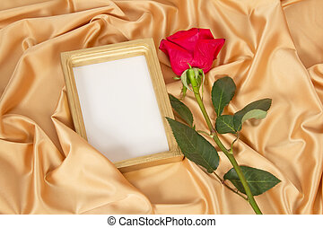 Empty photoframe with rose - Empty photoframe with red rose...