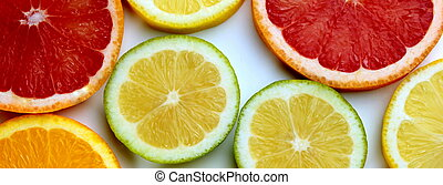 Citrus slices banner ,close up image