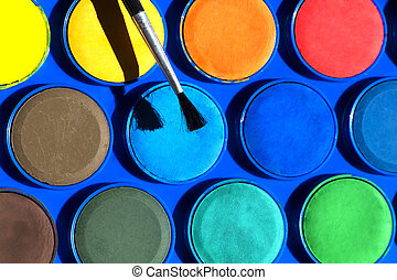 Watercolors paint box and brushe