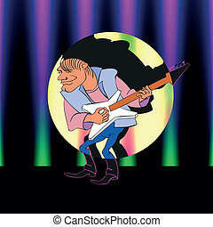 guitar cartoon, vector illustration