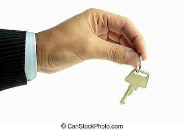 Handing over key,on white background