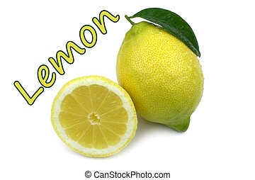 Lemon and sample text on white background