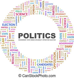 POLITICS. Word cloud concept illustration. Wordcloud...