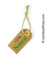 Label and 100 Natural green text and leaf