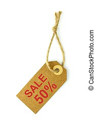 Sale 50% label with natural paper and string