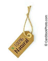 100 Naturel Label, on white background