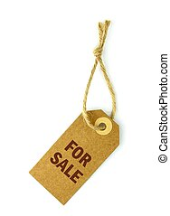 For sale label, on white background