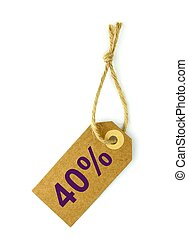 40%, Sale tag ,on white background