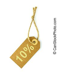 10% Sale tag ,on white background