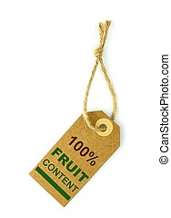 100 Fruit content label ,close up image
