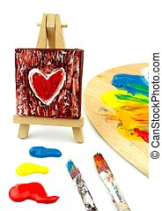 Heart Painting on easel - colors, paintbrush, palet
