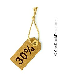 Sale tag on white background