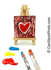 Heart Painting , easel, colors and paintbrush