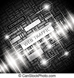 WEB TRAFFIC. Background concept wordcloud illustration....