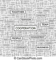 COOPERATION. Seamless pattern. Word cloud illustration.
