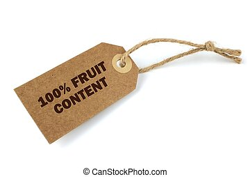 100 Fruit content label,on white background