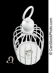 Cage and separate hearts,on white background