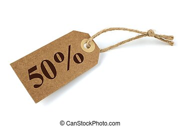 50 Sale label with natural paper and string