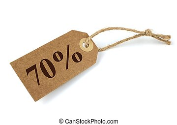 70% Sale label with natural paper and string